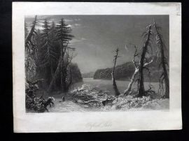Bartlett Canada 1842 Antique Print. Orford Lake